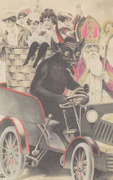 A Collection of Creepy Vintage Krampus Christmas Postcards in the