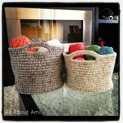 Crochet Baskets - Made one of these to hold our cloth diapers next to the changing table. Easy (maybe 6 hrs in the car) and cute! Great way to use up old brown hand me down yarn!
