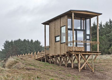 This wooden viewing cabin raised on stilts above the rugged landscape of southern Norway was designed by TYIN Tegnestue.
