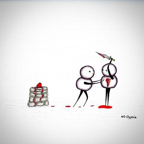 Canvas Prints: www.gypsieraleigh.com  Original: AVAILABLE (9x12 medium weight paper. Gypsieraleigh@gmail.com)  #GypsieRaleigh #artaddict #sadart #loveart #cuteart #sacrifice #painandsacrifice #altar #heartonthealtar #martyr #martyrs