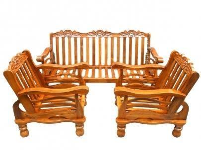 Teak Wooden Sofa Set With Cushion Wooden Sofa Wooden Sofa Set Wooden Sofa Set Designs