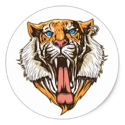 Angry Tiger Face Classic Round Sticker Animal Gift Ideas Animals And Pets Diy Customize Angry Tiger Lion Head Drawing Lion Illustration