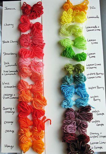 Kool aid yarn color chart | Kool aid, Kool aid dye and Colour chart