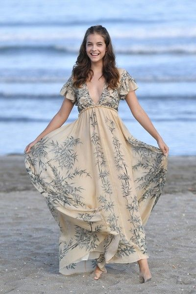 Model Barbara Palvin poses on the beach of the Excelsior Hotel in Venice.