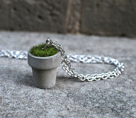 Handcrafted concrete planter necklace Sanded and sealed with vegan wax Artificial grass tuft silver-plated chain