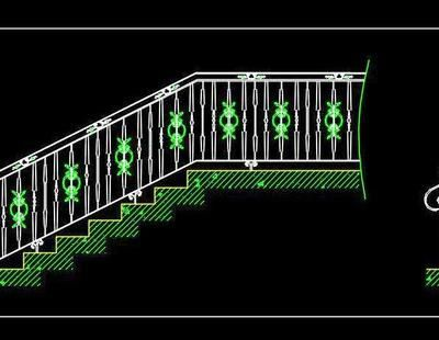 Download cad block of staircase railing design  There are 3