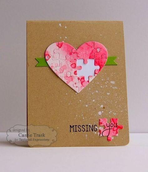 heart jigsaw card