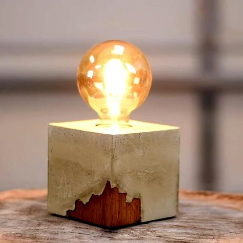 2 DIY Projects you can make from concrete - DIY Creators Concrete Crafts, Concrete Lamp, Concrete Projects, Diy Projects, Concrete Design, Diy Crafts For Home Decor, Diy Crafts Lamp, Diy Lamps, Wood Lamps