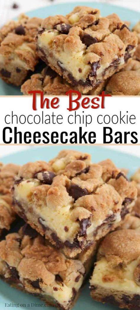 easy cookies You MUST make these delicious and easy chocolate chip cookie cheesecake bars. I promise that everyone in your family will love these simple chocolate chip cookie cheesecake bars! Try making this delicious dessert recipe for your family today!
