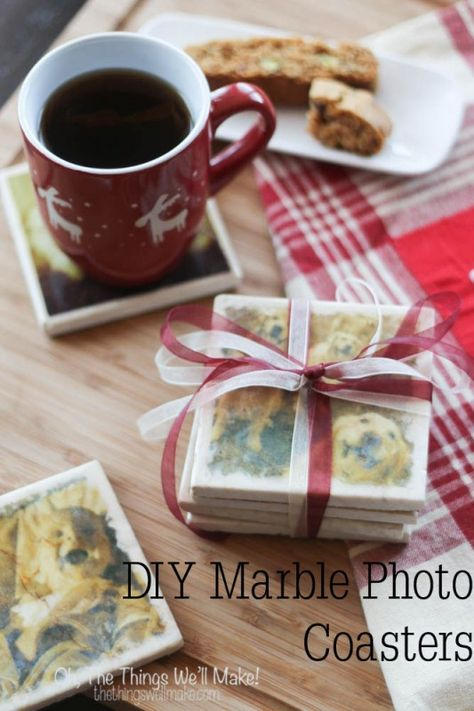 DIY Marble Photo Coasters - Oh, The Things We'll Make! Two methods for marble photo coasters, perfect for giving as gifts.