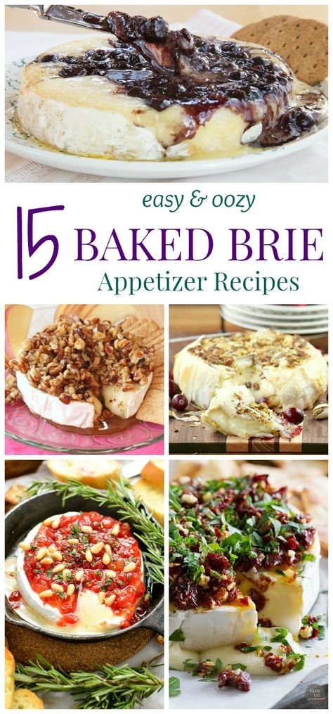 15 Easy and Oozy Baked Brie Appetizer Recipes - no party is complete without cheese! Here are some of the best baked Brie Easy and Oozy Baked Brie Appetizer Recipes - no party is complete without cheese! Here are some of the best baked Brie recipes! Baked Brie Appetizer, Scallop Appetizer, Eggplant Appetizer, Appetizer Dinner, Baked Brie Recipes, Jalapeno Recipes, Brie Cheese Recipes, Tapas Recipes, Baked Brie Toppings