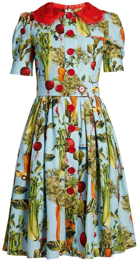 Dolce Gabbana Carrot And Car Print Round Neck Dress In 2020 Dresses Dolce Gabbana Dress Round Neck Dresses
