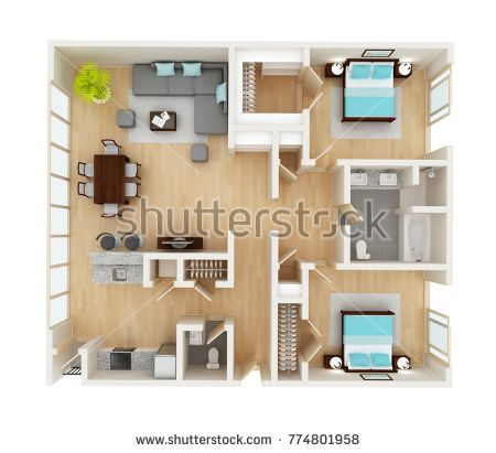 Floor Plan Of A House Top View 3d Illustration Open Concept Living Room Two Bedroom Layout Apartment Layout Open Concept Living Room Floor Plans