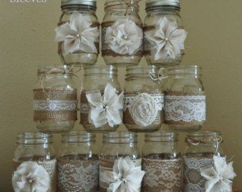 QUART SIZE Sleeves and Twine Only Set of 12 Burlap and Lace Sleeves for Mason Jars