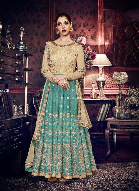 ba89e4a394 Exquisite Rama Green and Beige Designer Anarkali Suit in 2019   That ...