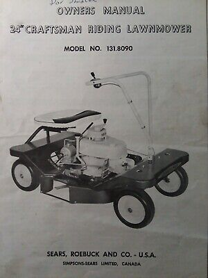 Sears Craftsman 24 5 H P Riding Lawn Mower 1957 Owner Parts Manual 131 8090 Sears Craftsman Riding Lawn Mowers Craftsman