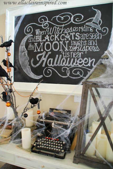 Free DIY Halloween Chalkboard Template and easy to follow TUTORIAL!