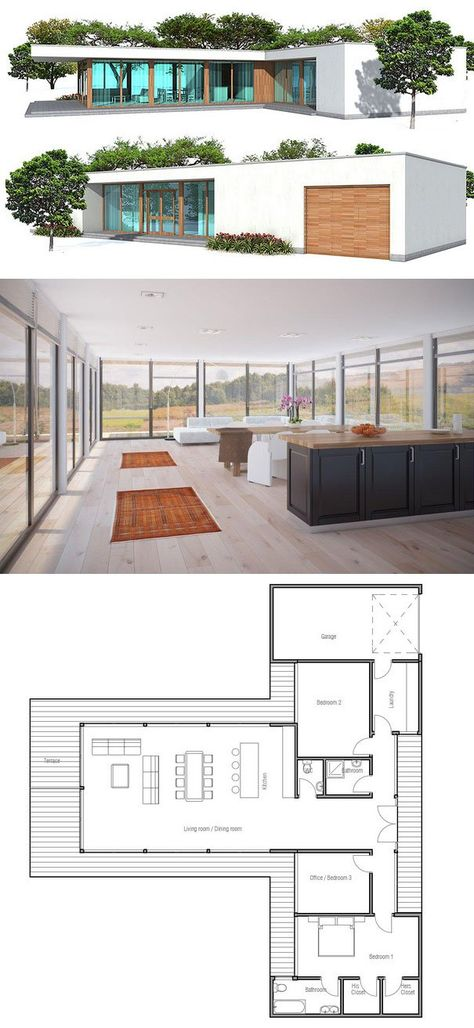 Minimalist House Design. Add basement, add stairs (maybe where the laundry  is and put the laundry in the basement?), combine half bathrooms into on