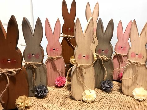 3 X Quality Bunny Hanging Decorations Handmade Real Wood Hand Painted