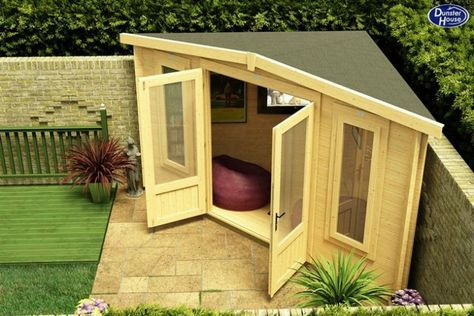 Shed Plans - Is your too small for a Log Cabin? Think again! The new Triangle 300 Log Cabin is designed for small spaces and corners.: - Now You Can Build ANY Shed In A Weekend Even If You've Zero Woodworking Experience! Backyard Sheds, Small Backyard Landscaping, Backyard Studio, Garden Sheds, Nice Backyard, Large Backyard, Small Patio, Storage Shed Landscaping Ideas, Backyard Ideas On A Budget