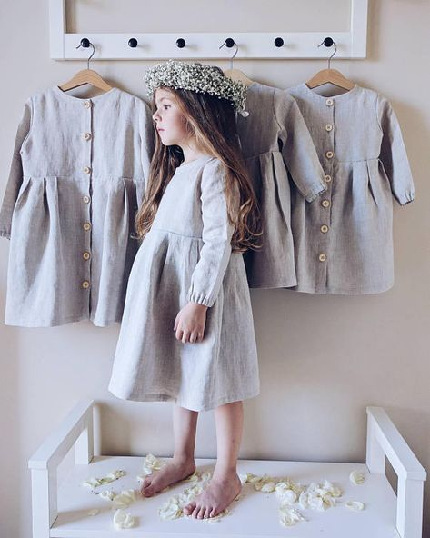 READY TO SHIP! Linen dress with long sleeves, natural