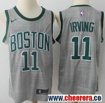 new products 56cee ea56d Nike Boston Celtics #11 Kyrie Irving Gray NBA Swingman City ...