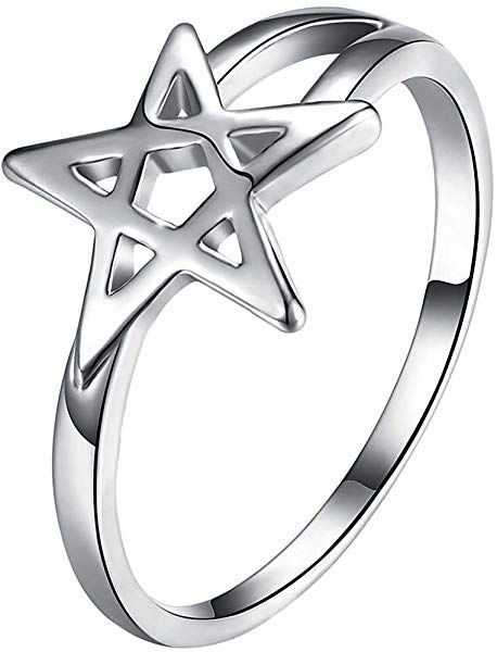 Amazon com: LWLH Womens 925 Sterling Silver Plated Pentagram