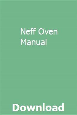 Neff Owner's Manual Operating