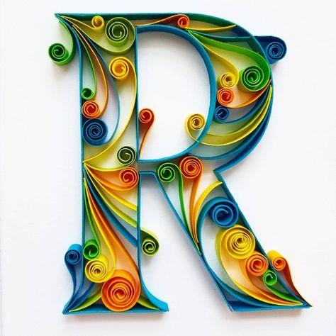 Quilled carta arte monogramma regalo personalizzato 3D Paper | Etsy