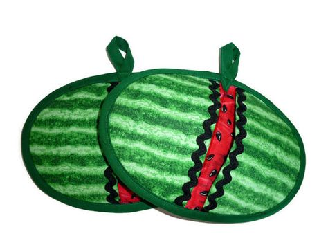 Watermelon Pot Pinchers  Set of 2 by bagsbybrenda on Etsy, $12.00
