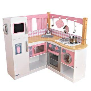 Kidkraft Ultimate Corner Play Kitchen With Lights Sounds Kohls In 2021 Kidkraft Corner Kitchen Wooden Play Kitchen Play Kitchen