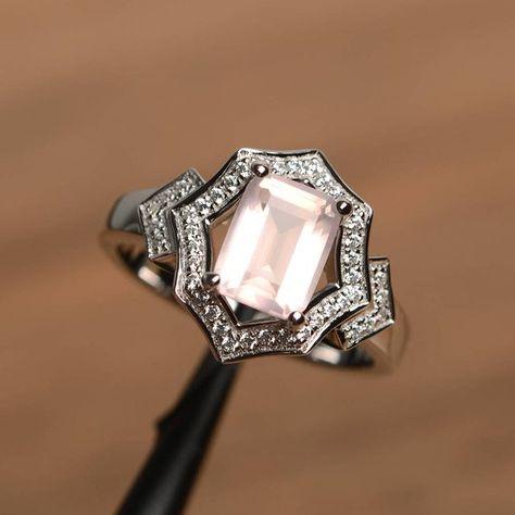 10k Rose Gold Vintage Style Genuine Emerald-cut Garnet Scroll Ring