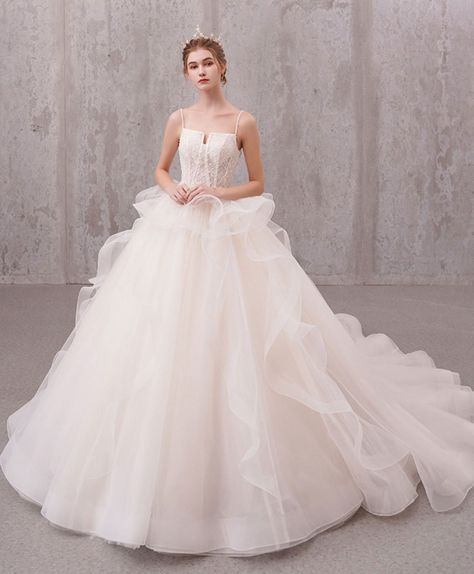 Light champagne tulle lace long wedding dress, lace wedding gown - US 4