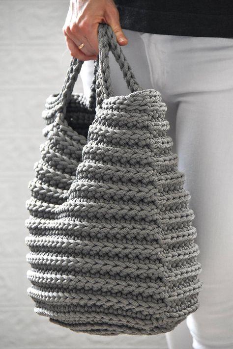 Ponto palito Crochet Market Bag, Crochet Tote, Crochet Handbags, Crochet Purses, Grey Tote Bags, Best Tote Bags, Tote Bags Handmade, Handmade Handbags, Art Bag