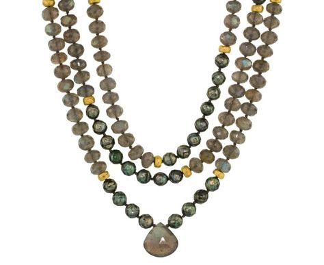 Oyster Pearl, 22K Gold, and Labradorite Bead Pendant Necklace
