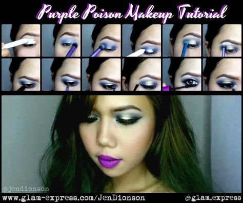 Purple Poison Makeup Tutorial #jendionson     ***VISIT SITE FOR PRODUCT LIST & VIDEO TUTORIAL*** #Revlon #Colorstay #LorealParis #EtudeHouse #UDNaked #NYX #elf #UDVice #UrbanDecay #Maybelline #PrettyZombie #Purple #PurplePoison #purplemakeup #howto #glamexpress #beauty #pictorial
