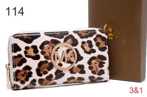 d8b378658c Michael Kors Wallet,Michael Kors Mirror Metallic Circle Logo Purses Leopard  White Sale-$68