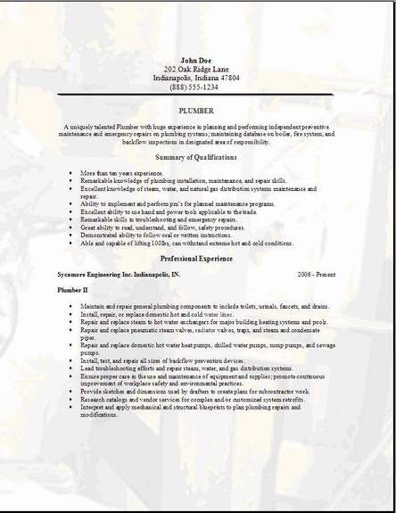 Plumbing Engineer Sample Resume Plumbing Resume3  Waterloo  Pinterest  Resume Examples