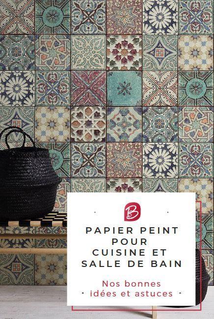 Papier Peint Pour Cuisine Et Salle De Bain Adieu Le Carrelage
