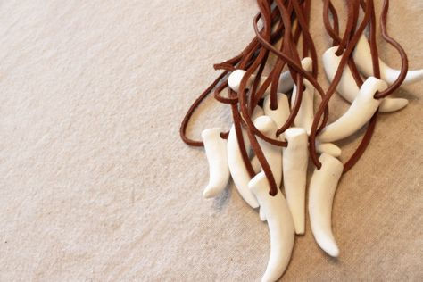 6 Clay Tooth Necklaces  Dragon or Dinosaur by whirligigspartyco, $15.00