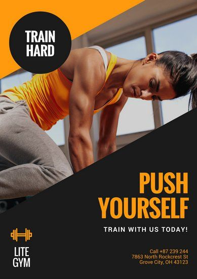 Orange And Black Photo Gym Poster Gym Poster Workout Posters Fitness Flyer