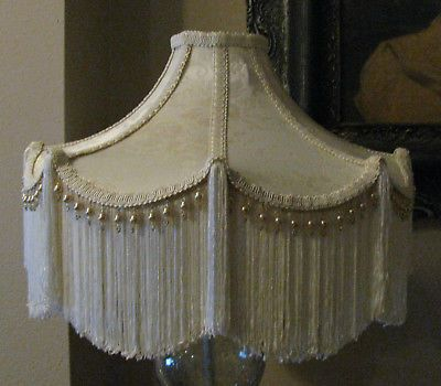 Victorian French Large Floor Table Lamp Shade Bella Cream Fringe Tassels Victorian Lampshades Victorian Lamps Lamp Shade