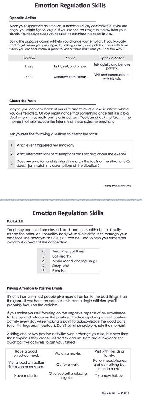 Printable Worksheets grief counseling worksheets : DBT Emotion Regulation Skills Preview | ADHD | Pinterest | Dbt ...