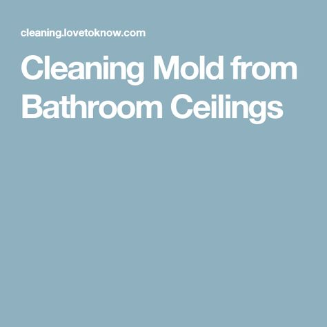 Cleaning Mold from Bathroom Ceilings good tip Pinterest