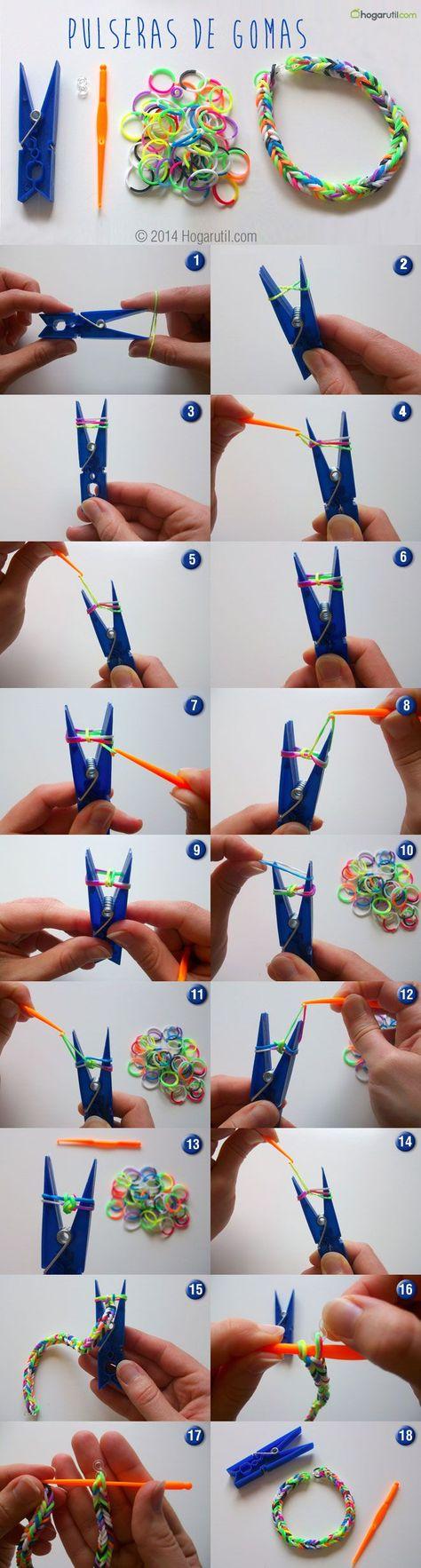 Pulseras de gomas - Paso a paso | DIY rubber band bracelets - Step by step #DIY #manualidades #video