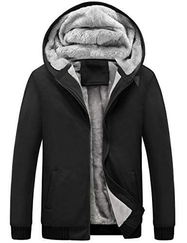 Men/'s Fur Lined Hooded Fleece Sherpa Jacket Plain Warm Thick Hoodie Coat Top