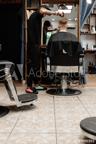 Barber Working With Customer In Salon Ad Working Barber Salon Customer In 2020 Baby Strollers Salons Stock Photos
