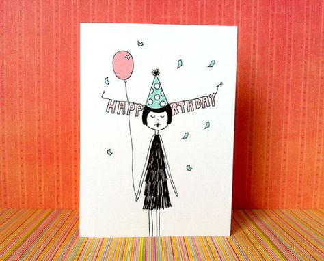 Birthday card // 1920s flapper PDF Printable di flapperdoodle