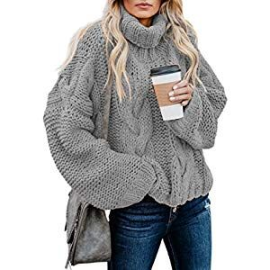 Women Pullover Sweater Tops Long Sleeve Turtleneck Sweater Coat Loose Fit Chunky Knit Pullover Jumper