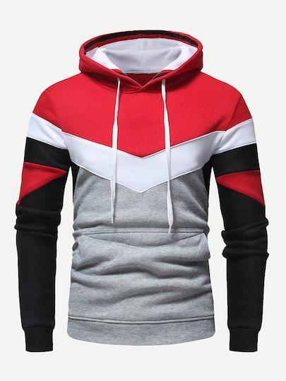Guys Color Block Hoodie | Hoodies men, Casual hoodie, Hoodie